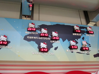 Hello Kitty world time zone clock in the Taipei Airport