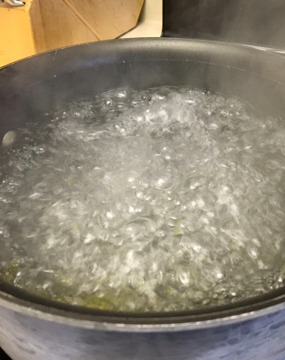 Bring water to a boil for lasagna noodles
