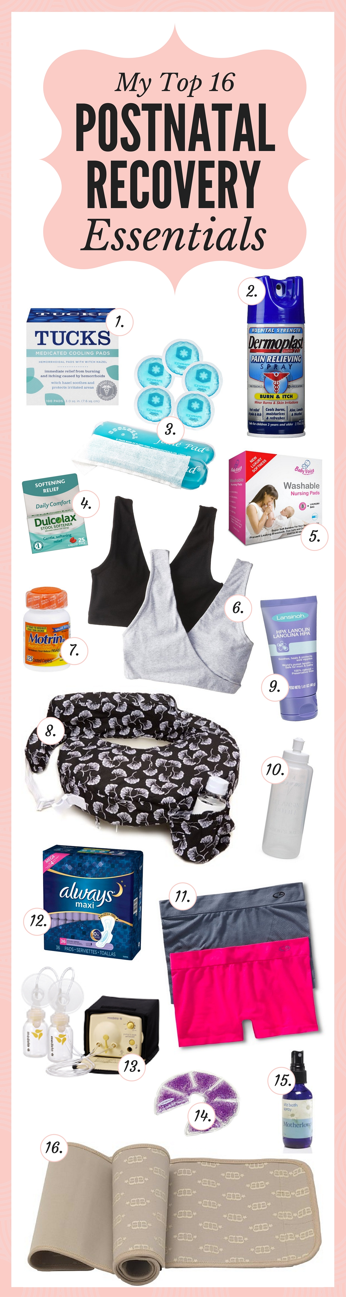 My top 16 postnatal recovery essentials