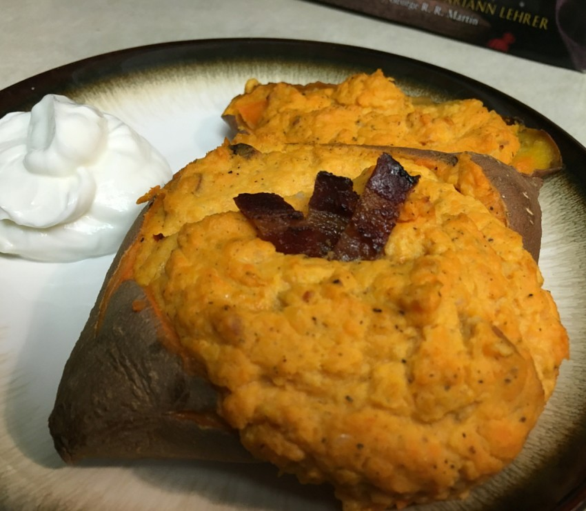 Finished low fat twice-baked sweet potato ready to be gobbled up.