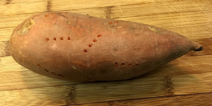 Poke holes in the sweet potatoes (not too many!).