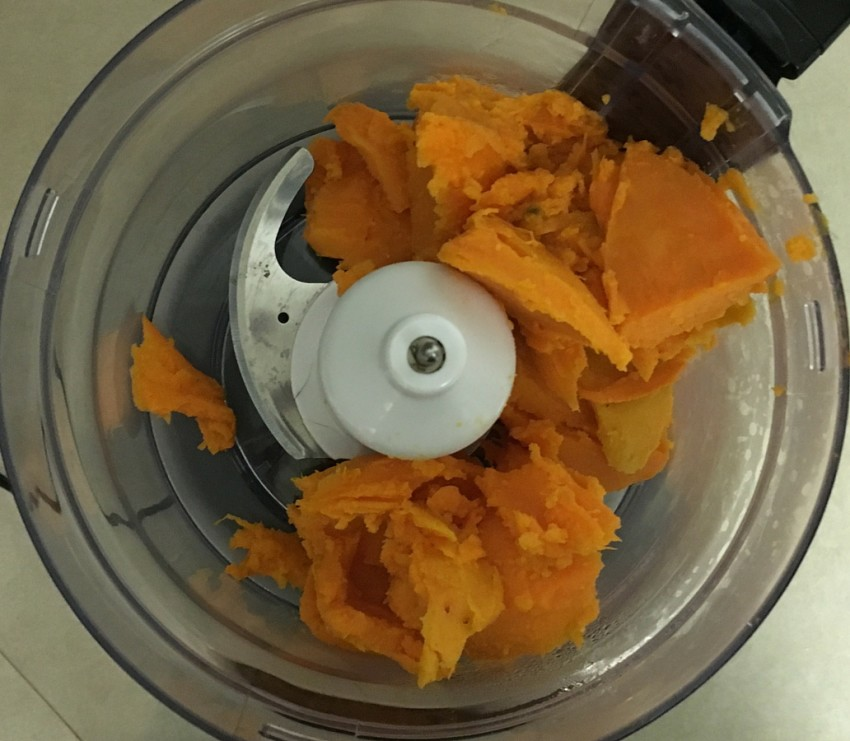 We used a food processor to whip our sweet potato.
