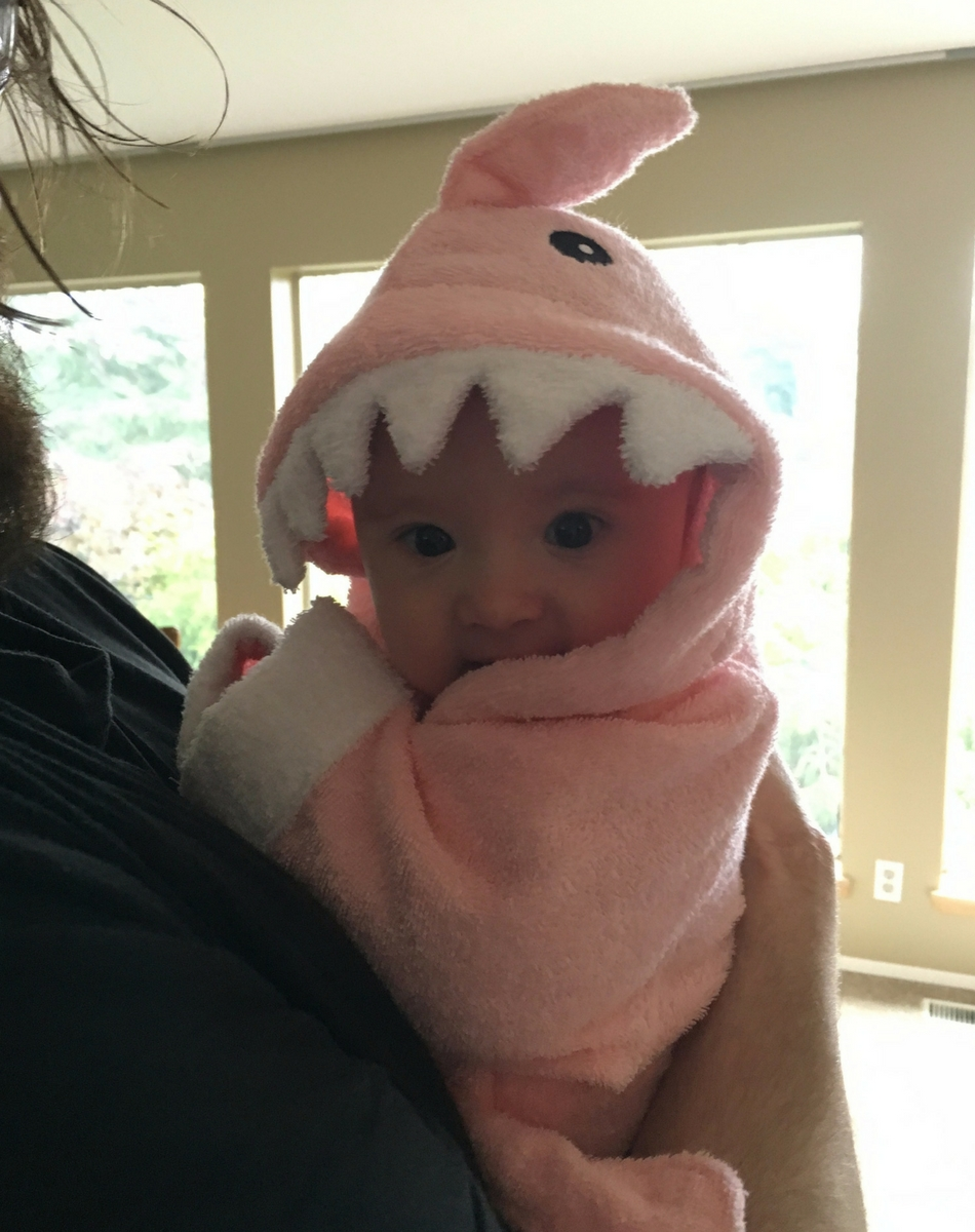 Maddy's shark robe (so cute!!)